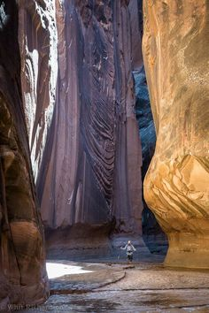 Hiking in Buckskin Gulch, Utah.