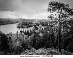 Dramatic lake view in black & white at the Aulanko nature conservation park in Finland - stock photo