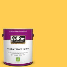 BEHR Premium Plus 1-gal. #330B-6 Lemon Sorbet Zero VOC Eggshell Enamel Interior Paint