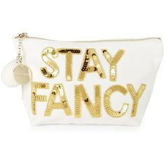 Bow And Drape Women's Stay Fancy Sequined Canvas Pouch (440 ARS) ❤ liked on Polyvore featuring bags, handbags, clutches, gold, fancy purse, pouch purse, white purse, sequined clutches and white handbag