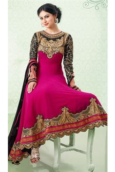 Mouni Roy Black, Deep Pink Georgette Designer Anarkali