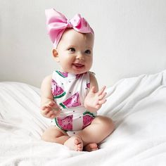 Baby Girl Sleeveless Watermelon Romper The Trendy Toddlers - May 18 2019 at Baby Tritte, Baby Boys, Baby Girl Names, Cute Baby Girl, Cute Babies, Toddler Girl, Storing Baby Clothes, Watermelon Baby, Baby Kicking
