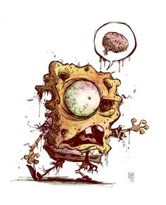 Zombie Spongebob by Skottie Young Zombie Kunst, Zombie Art, Zombie News, Zombie Life, Zombies, Arte Horror, Horror Art, Illustrations, Illustration Art