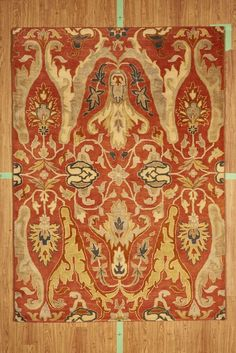 """5' 3"""" x 7' 7"""" Red Tan Gold Hand Tufted Wool Transitional Area Rug NEW SALE"""