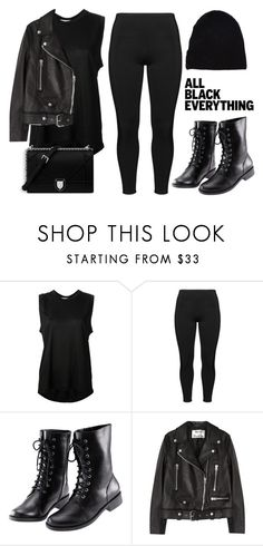 """Monochrome: All Black Everything"" by vany-alvarado ❤ liked on Polyvore featuring Acne Studios, Boris, H&M, Yves Saint Laurent, monochrome and allblack"