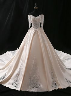 Champagne Ball Gown Satin Appliques Off The Shoulder Wedding Dress - Champagne . - Champagne Ball Gown Satin Appliques Off The Shoulder Wedding Dress – Champagne Ball Gown Satin Appliques Off The Shoulder Wedding Dress , Source by – Source by niaabiti - Off White Wedding Dresses, Western Wedding Dresses, Princess Wedding Dresses, Bridal Dresses, Wedding Gowns, Western Weddings, Blue Weddings, Spring Weddings, Romantic Weddings