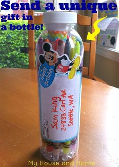 Disney gift bottle - How to send your own through the mail