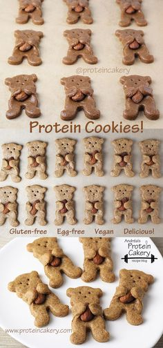 Maple Almond Bear Hug Protein Cookies! Andréa's Protein Cakery high protein recipes - gluten free cookies, bear cookies, low carb cookies