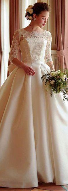d6256bc5e160 Elegant Tulle & Satin Jewel Neckline A-line Wedding Dress With Lace  Appliques Top Wedding