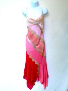 New VICTORIAS SECRET Women Pink SILK Lace Long Nightie Nightgown Lingerie S