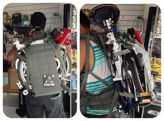 Breaking Back The particular pack used is a Mystery Ranch NICE Load Sling frame for tactical/military uses. Try and find another frame system if you want to use a backpack carrier for your bike. This one easily costs half a grand in US dollars. Breaking Back, Mystery Ranch, Sabbatical, Brompton, Bike Accessories, Golf Bags, Electric, Bicycle, Military