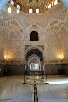 Hall of the Sisters, similar to list image. 65. Alhambra Palace. Granada, Spain. Nasrid Dynasty. 1354–1391 C.E. Whitewashed adobe stucco, wood, tile, paint, and gilding.