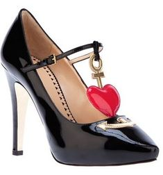 Moschino Cheap & Chic - red heart detail, black patent pumps