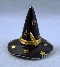 NEW FRENCH LIMOGES TRINKET BOX BLACK WITCH'S HAT WITH GOLD STARS