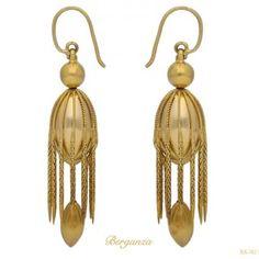 Victorian yellow gold fancy drop earrings, English, circa 1890.