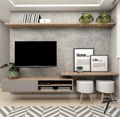 Living Room Tv Unit, Home Living Room, Interior Design Living Room, Living Room Designs, Living Room Decor, Tv Unit For Bedroom, Tv On Wall Ideas Living Room, Small Living Rooms, Interior Decorating