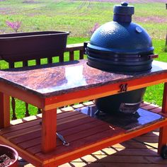 Parents new, handmade Big Green Egg grill stand and prep station - Natalie Eisin. - Parents new, handmade Big Green Egg grill stand and prep station – Natalie Eisin… – Parents - Big Green Egg Grill, Big Green Egg Table, Green Eggs, Grill Table, Grill Area, Grill Stand, Outdoor Grill Station, Bbq Pitmasters, Patio Plans