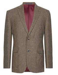 Pure Wool Tailored Fit 2 Button Herringbone Jacket | M&S