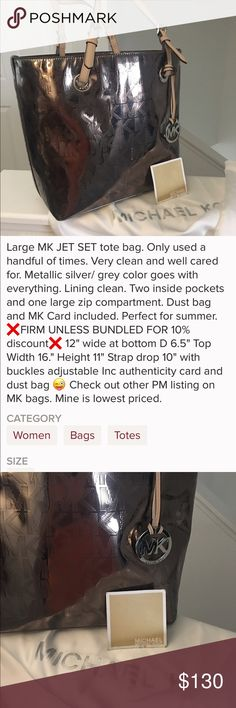 """MICHAEL KORS JET SET TOTE BAG Practically Brand new. Perfect condition. No flaws or stains. 9.5 drop from adjustable shoulder straps. 2 pockets each side- I zip. W at bottom 12"""". W at top 16"""" H 11"""". If you ck out other MK bags - you see mine is competitively priced. ❌Firm unless bundled. MK Bags Totes"""