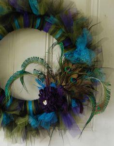 "NEW SIZE - 22""  Jumbo Picky Peacock Tutu Wreath. $65.00, via Etsy."
