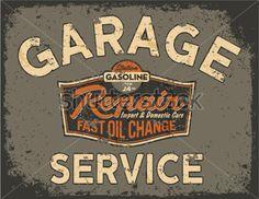 Enseigne vintage voiture service - illustrations vectorielles dans des couleurs personnalisées, effet grunge en calque séparé