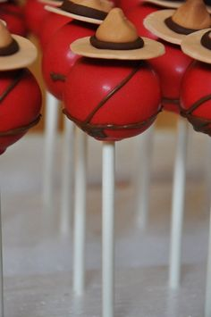 Cakepop w/ an RCMP Theme! So cute! @Michelle Sloan I found these on Facebook…