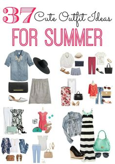 Do you need some cute outfit ideas for summer? Are you lacking inspiration? Print out these 37 outfits and pin them up in your closet for ideas. I love to reference ideas as I'm getting dressed in the morning. It helps out when I don't have a clue what to