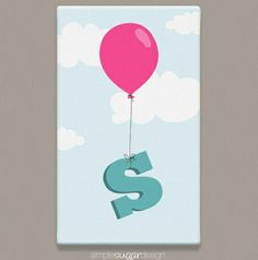 Makes a great Christmas gift! | Balloon Initial Gallery Wrapped Canvas Print | Available in 16 signature colours | Simple Sugar Design | $29.99 Great Christmas Gifts, Holiday, Simple Sugar, Gifts For Kids, Wrapped Canvas, Initials, Balloons, Canvas Prints, Colours