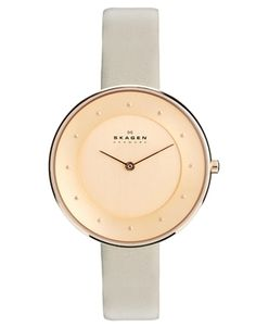 Skaggen Classic Rose Gold Grey Leather Watch $217.93