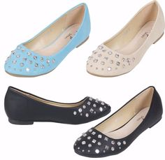 LADIES STUDDED LOW HEEL BOW PUMPS WOMENS WORK FLAT HEEL PARTY DOLLY SHOES SZ 3-8