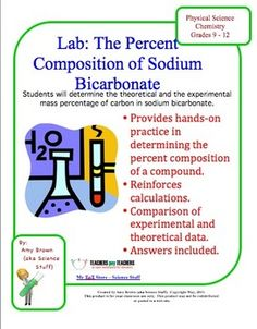 The purpose of this experiment is to determine the percent composition of carbon in a sample of sodium bicarbonate, NaHCO3.     Reacting sodium bicarbonate with sulfuric acid will release carbon in the form of carbon dioxide. According to the Law of Definite Proportions, the mass percentage of carbon in the bicarbonate will be constant, no matter how much sodium bicarbonate is used in the experiment.    You will be determining the percent composition of carbon in sodium carbonate, both…