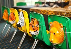 Safari Birthday Party {Guest Feature} Safari Party masks - Great, cheap way to dress up the chairs.Safari Party masks - Great, cheap way to dress up the chairs. Jungle Theme Parties, Jungle Theme Birthday, Safari Theme Party, Safari Birthday Party, Animal Birthday, First Birthday Parties, Jungle Party Decorations, Birthday Decorations, Jungle Party Favors