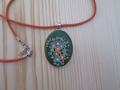 Unique Handmade Polymer Clay Oval Pendant/Necklace Floral in Dark Green