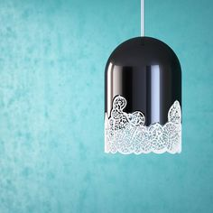 'Sky' lamp is a part of the 'Lacelamps' design collection. Cast graphical shadows on walls in low luminance rooms. Made with white 3D printed patterns and black glossy bell.