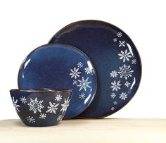 Hand Painted Snowflake Blue Rustic Collection by SylwiaGlassArt, $80.00