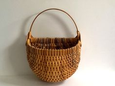 Woven Bamboo Basket, Bentwood Handle & Frame, Hemp Rope, Wicker Bamboo Wall Hanging by GentlyKept on Etsy