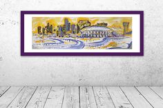 New Orleans Superdome Skyline Giclée Open Edition Print of Original Acrylic Painting on Canvas on Etsy, $90.00 New Orleans Superdome, New Orleans Skyline, Acrylics, Wood Art, Paintings, Frame, Kids, Etsy, Home Decor