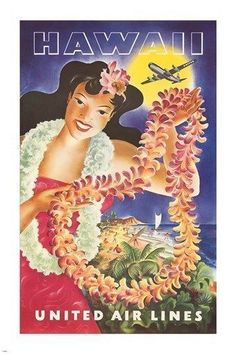 HAWAIIAN vintage travel poster UNITED AIR LINES flowers TRADITIONAL 24X36