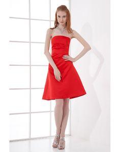 Satin Strapless Short A-line Cocktail Dress Inexpensive Bridesmaid Dresses 94baff4b49f3