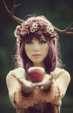 Sure, I'm going to eat a magic apple from a purple haired girl with antlers growing out of her head.