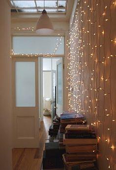 A wall of fairy lights Indoor Christmas Lights, Indoor Lights, Wall Lights, String Lights, Winter Light, Bedroom Wall, Curtains, Interior Design, Modern
