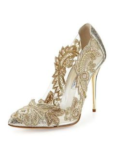 Shop designer heels and pumps at Neiman Marcus. Fall in love with these studded and crystal embedded ankle wrap pumps. Fancy Shoes, Crazy Shoes, Cute Shoes, Me Too Shoes, Bridal Shoes, Wedding Shoes, Metallic Pumps, Metallic Leather, Beaded Shoes