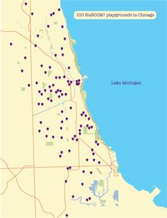 These are ALL KaBOOM! playground sites in Chicago.  This weekend they will build their 100th playground in the Windy City!