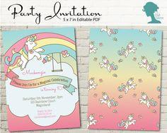 Rainbow Unicorn Party Invitation by The Digi Dame Printable Party Decor $10AUD thedigidame.com