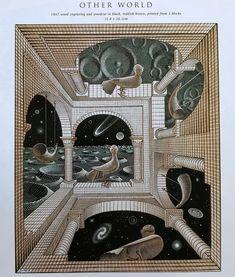 mc escher one point perspective Mc Escher, Escher Kunst, Escher Art, Escher Prints, Art And Illustration, Illusion Kunst, Illusion Art, Op Art, Ouvrages D'art