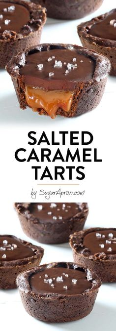 Chocolate Salted Caramel Tarts - Sugar Apron - - Chocolate Salted Caramel Tarts - A buttery chocolate crust with a soft caramel filling, topped with chocolate ganache and flaky sea salt. Something that every chocolate and caramel fan should taste. Salted Caramel Desserts, Caramel Recipes, Chocolate Recipes, Mini Chocolate Desserts, Salted Caramel Chocolate Tart, Caramel Treats, Caramel Cheesecake, Tart Recipes, Cookie Recipes