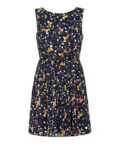 Another great find on #zulily! Navy Bird & Branch Skater Dress #zulilyfinds