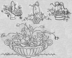 flower basket - embroidery pattern