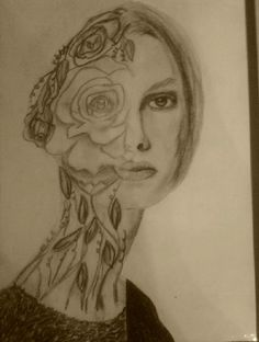 Half-Face portrait, grade 8. Pencil