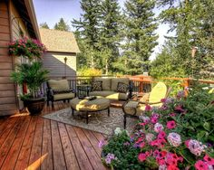 beautiful home exterior design ideas stylish patio furniture and flowers